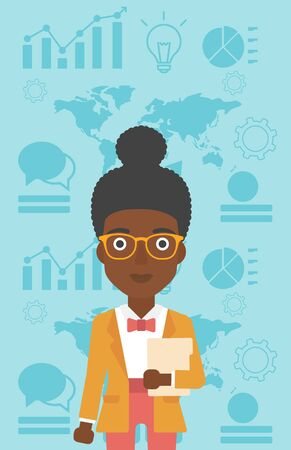 business woman with tablet: An african-american business woman holding a file in hand while standing with growing chart and a map on a background. Vector flat design illustration. Vertical layout.