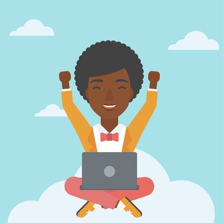 woman laptop happy: An african-american happy woman with raised hands sitting on a cloud with a laptop. Vector flat design illustration. Square layout.