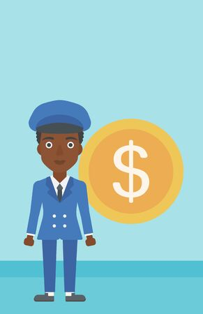 business woman standing: An african-american business woman standing with a big dollar coin behind her. Successful business concept. Vector flat design illustration. Vertical layout.