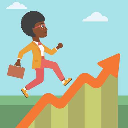 moving up: An african-american business woman running along the growth graph. Businesswoman going up. Woman moving up. Successful business concept. Vector flat design illustration. Square layout.