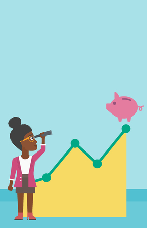uprising: An african-american business woman looking through spyglass at a piggy bank standing at the top of growth graph. Vector flat design illustration. Vertical layout. Illustration