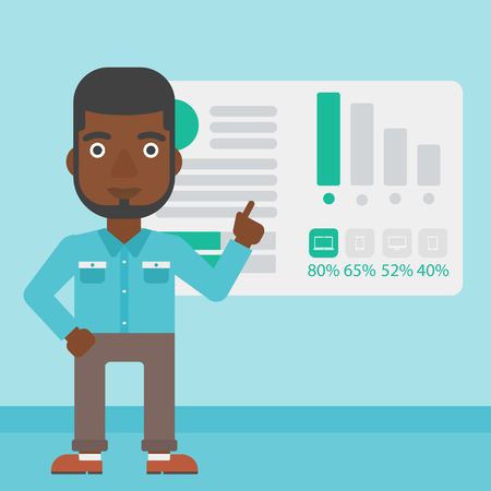african business man: An african businessman pointing at charts on a board during business presentation. Man giving business presentation. Business presentation in progress. Vector flat design illustration. Square layout.