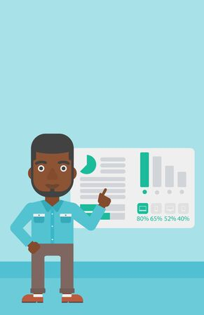 african business man: African businessman pointing at charts on a board during business presentation. Man giving business presentation. Business presentation in progress. Vector flat design illustration. Vertical layout. Illustration