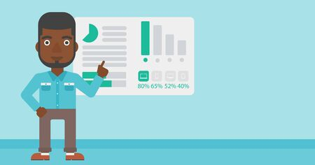 african business man: African businessman pointing at charts on a board during business presentation. Man giving business presentation. Business presentation in progress. Vector flat design illustration. Horizontal layout. Illustration