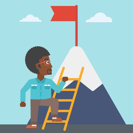 stair climber: An african-american young businessman standing with ladder near the mountain. Businessman climbing the mountain with a red flag on the top. Vector flat design illustration. Square layout.