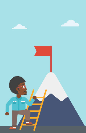 stair climber: An african-american young businessman standing with ladder near the mountain. Businessman climbing the mountain with a red flag on the top. Vector flat design illustration. Vertical layout. Illustration