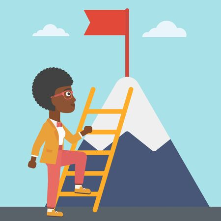 stair climber: An african-american business woman standing with ladder near the mountain. Business woman climbing the mountain with a red flag on the top. Vector flat design illustration. Square layout.
