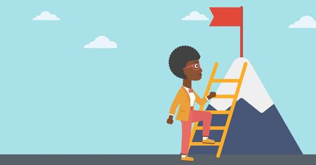 stair climber: An african-american business woman standing with ladder near the mountain. Business woman climbing the mountain with a red flag on the top. Vector flat design illustration. Horizontal layout.
