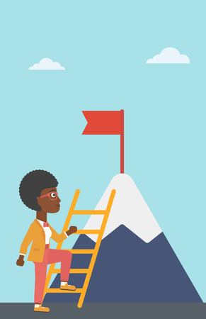 stair climber: An african-american business woman standing with ladder near the mountain. Business woman climbing the mountain with a red flag on the top. Vector flat design illustration. Vertical layout.