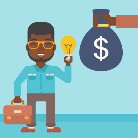 exchanging: An african-american young businessman exchanging his idea bulb to money bag. Successful business idea concept. Vector flat design illustration. Square layout.