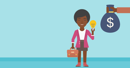 exchanging: An african-american business woman with briefcase exchanging her idea bulb to money bag. Successful business idea concept. Vector flat design illustration. Horizontal layout.