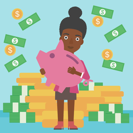 An african-american business woman holding a big piggy bank in hands under money rain on the background of stacks of golden coins. Vector flat design illustration. Square layout.