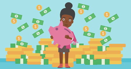 money rain: An african-american business woman holding a big piggy bank in hands under money rain on the background of stacks of golden coins. Vector flat design illustration. Horizontal layout.