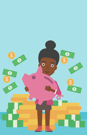 An african-american business woman holding a big piggy bank in hands under money rain on the background of stacks of golden coins. Vector flat design illustration. Vertical layout.  イラスト・ベクター素材