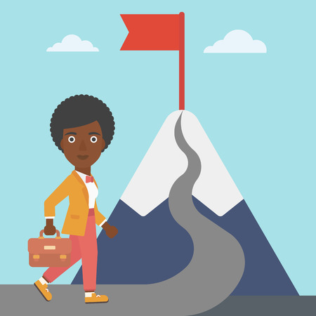 business woman standing: An african-american business woman standing at the foot of the mountain. Business woman walking on road leading to flag on the top of the mountain. Vector flat design illustration. Square layout.