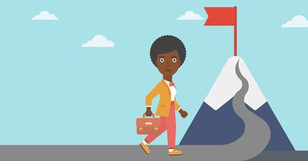 business woman standing: An african-american business woman standing at the foot of the mountain. Business woman walking on road leading to flag on the top of the mountain. Vector flat design illustration. Horizontal layout. Illustration