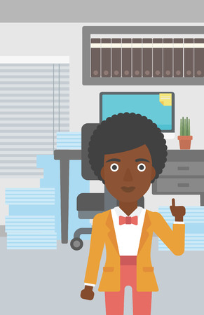 forefinger: An african-american young business woman standing in the office and pointing up with her forefinger. Business idea concept. Vector flat design illustration. Vertical layout. Illustration