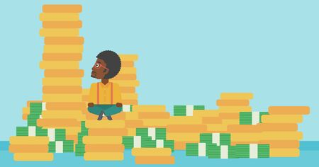 An african-american young businessman sitting on stack of gold coins and looking up to the biggest one. Successful business concept. Vector flat design illustration. Horizontal layout.
