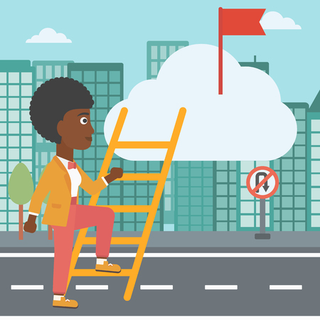 stair climber: An african-american young business woman climbing up the ladder to get the red flag on the top of the cloud. Vector flat design illustration. Square layout.