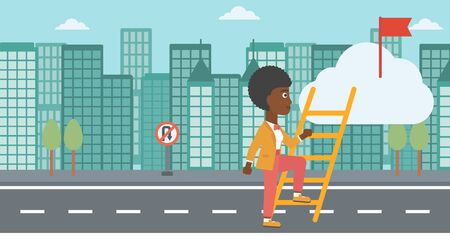 stair climber: An african-american young business woman climbing up the ladder to get the red flag on the top of the cloud. Vector flat design illustration. Horizontal layout.