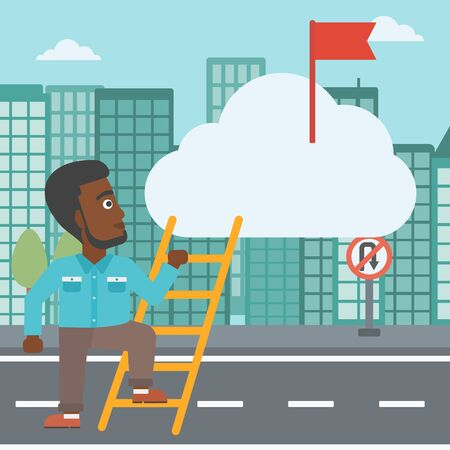 stair climber: An african-american young businessman climbing up the ladder to get the red flag on the top of the cloud. Vector flat design illustration. Square layout.