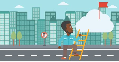 stair climber: An african-american young businessman climbing up the ladder to get the red flag on the top of the cloud. Vector flat design illustration. Horizontal layout. Illustration