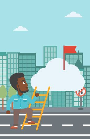 hold high: An african-american young businessman climbing up the ladder to get the red flag on the top of the cloud. Vector flat design illustration. Vertical layout. Illustration