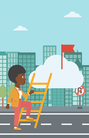 stair climber: An african-american young business woman climbing up the ladder to get the red flag on the top of the cloud. Vector flat design illustration. Vertical layout.