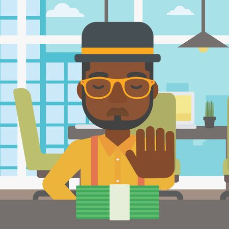 moving in: An african-american young businessman sitting at the table in office and moving dollar bills away. Vector flat design illustration. Square layout.