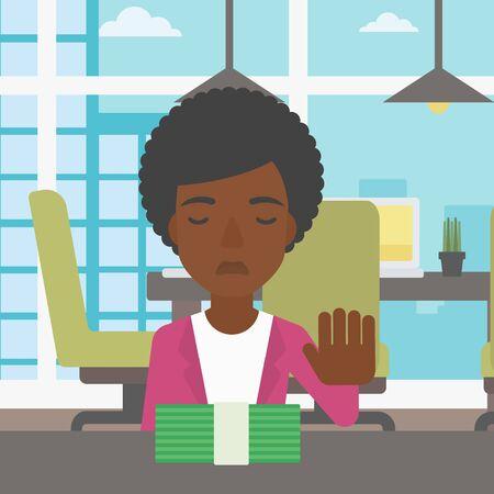 Een Afro-Amerikaanse jonge zakenvrouw zitten aan de tafel in het kantoor en het verplaatsen van dollarbiljetten weg. Vector platte ontwerp illustratie. Vierkante lay-out. Stock Illustratie