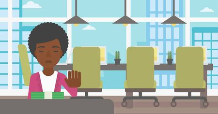 moving office: An african-american young business woman sitting at the table in office and moving dollar bills away. Vector flat design illustration. Horizontal layout. Illustration