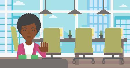 Een Afro-Amerikaanse jonge zakenvrouw zitten aan de tafel in het kantoor en het verplaatsen van dollarbiljetten weg. Vector platte ontwerp illustratie. Horizontale lay-out. Stock Illustratie