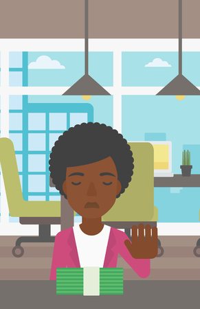 moving office: An african-american young business woman sitting at the table in office and moving dollar bills away. Vector flat design illustration. Vertical layout.