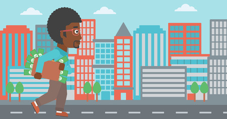 businessman walking: An african-american young businessman walking in the city with suitcase full of money. Vector flat design illustration. Horizontal layout. Illustration