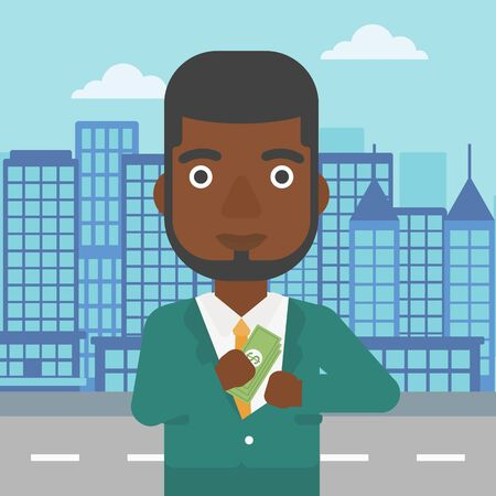 putting money in pocket: An african-american young businessman putting money in his pocket on a city background. Vector flat design illustration. Square layout.