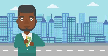 putting money in pocket: An african-american young businessman putting money in his pocket on a city background. Vector flat design illustration. Horizontal layout.