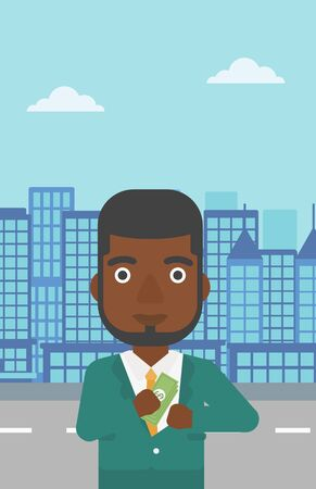 putting: An african-american young businessman putting money in his pocket on a city background. Vector flat design illustration. Vertical layout.