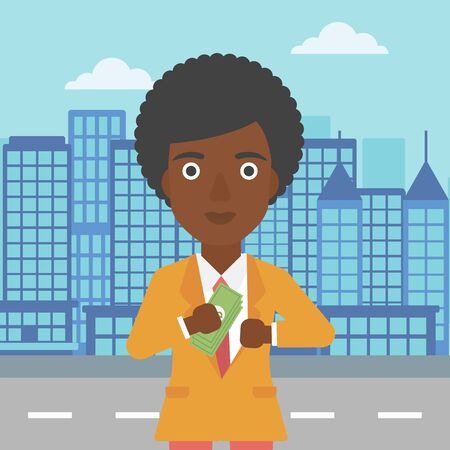 putting money in pocket: An african-american young business woman putting money in her pocket on a city background. Vector flat design illustration. Square layout.