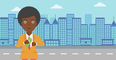 putting money in pocket: An african-american young business woman putting money in her pocket on a city background. Vector flat design illustration. Horizontal layout. Illustration