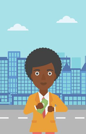 putting: An african-american young business woman putting money in her pocket on a city background. Vector flat design illustration. Vertical layout.