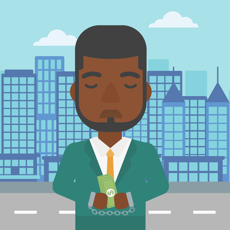 handcuffed hands: An african-american young businessman in handcuffs with money in hands on the background of modern city. Businessman handcuffed for crime. Vector flat design illustration. Square layout.