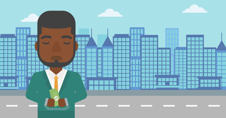 An african-american young businessman in handcuffs with money in hands on the background of modern city. Businessman handcuffed for crime. Vector flat design illustration. Horizontal layout.