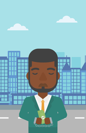 handcuffed hands: An african-american young businessman in handcuffs with money in hands on the background of modern city. Businessman handcuffed for crime. Vector flat design illustration. Vertical layout.