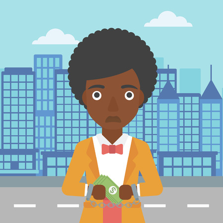 An african-american young business woman in handcuffs with money in hands on the background of modern city. Business woman handcuffed for crime. Vector flat design illustration. Square layout.