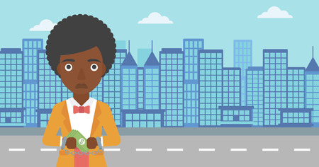 handcuffed hands: An african-american young business woman in handcuffs with money in hands on the background of modern city. Business woman handcuffed for crime. Vector flat design illustration. Horizontal layout.