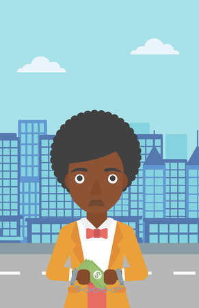 handcuffed hands: An african-american young business woman in handcuffs with money in hands on the background of modern city. Business woman handcuffed for crime. Vector flat design illustration. Vertical layout.