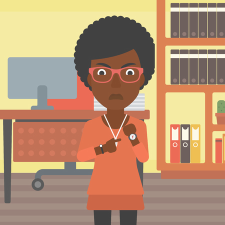 An african-american angry business woman standing in the office and pointing at her wrist watch. Vector flat design illustration. Square layout. Illustration