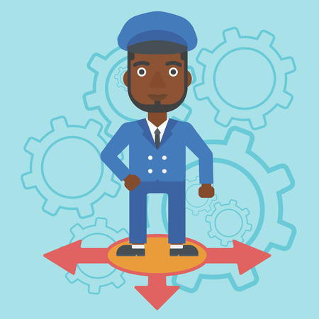 An african-american man standing on three alternative ways on a blue background with cogwheels. Concept of career choices. Vector flat design illustration. Square layout. Illustration