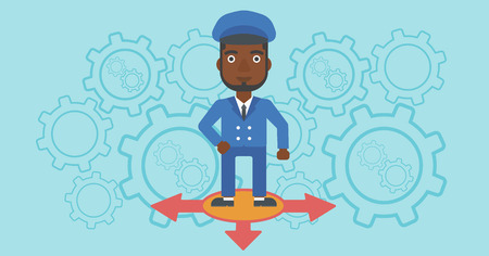 career choices: An african-american man standing on three alternative ways on a blue background with cogwheels. Concept of career choices. Vector flat design illustration. Horizontal layout.