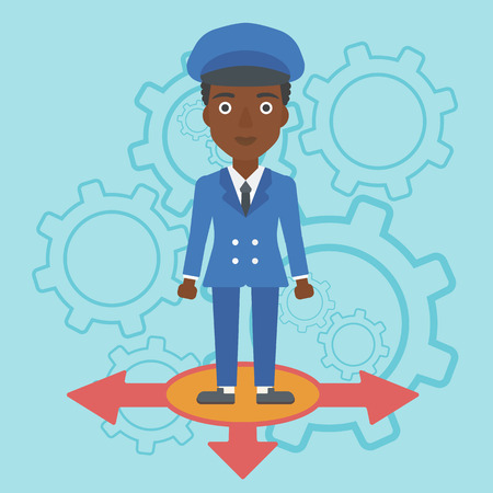 hesitate: An african-american young woman standing on three alternative ways on a blue background with cogwheels. Concept of career choices. Vector flat design illustration. Square layout.